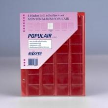 , Importa populair muntalbumbladen 4 stuks 32 vaks 2 euro munten rode schutbladen