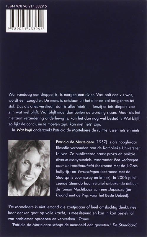 Patricia de Martelaere,Wat blijft